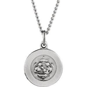 Sterling Silver 12mm Baptism Medal 18