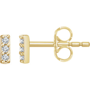 14K Yellow .05 CTW Diamond Bar Earrings