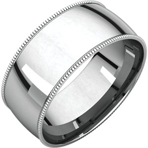 14K White 8 mm Milgrain Lightweight Comfort-Fit Band
