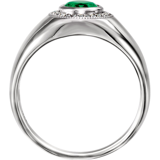 14K White Men-s Chatham® Created Emerald & Diamond Accented Ring
