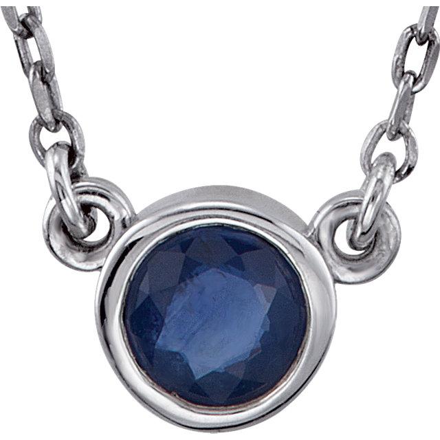 Sterling Silver Blue Sapphire Bezel 18