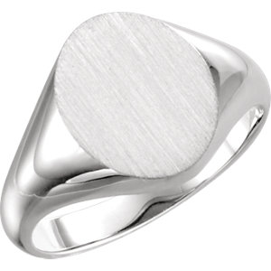 Fashion Rings , Palladium 11x9.5mm Oval Signet Ring