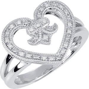 Sterling Silver .07 CTW Diamond Heart & Fleur-De-Lis Design Ring Size 6