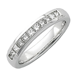 14K White 3/4 CTW Diamond Men-s Princess-Cut Diamond Ring