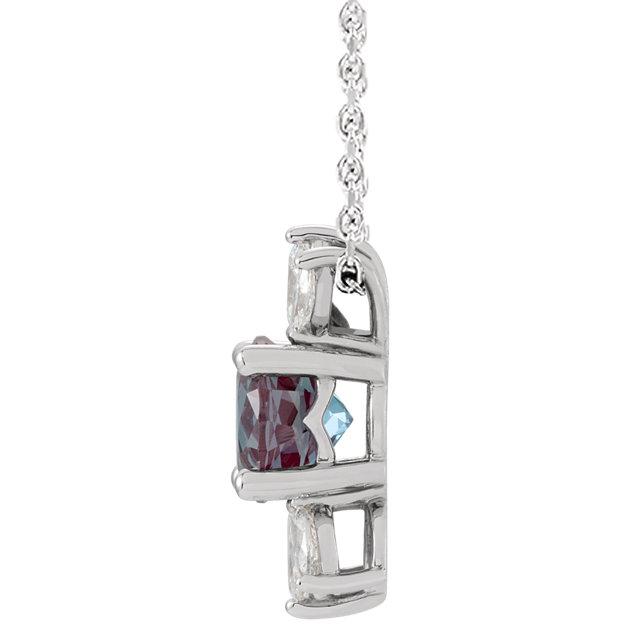 14K White Chatham® Created Alexandrite & 1/4 CTW Diamond Necklace