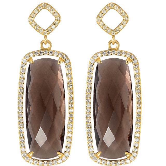 Sterling Silver Smoky Quartz & 3/4 CTW Diamond Earrings