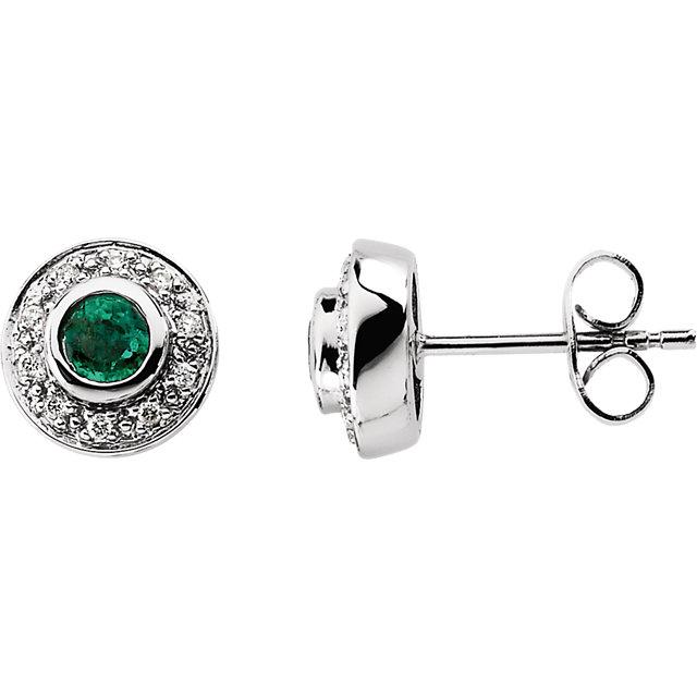 14K White 3.5 mm Round Emerald & 1/10 CTW Diamond Earrings