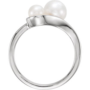 14K White Freshwater Cultured Pearl Ring