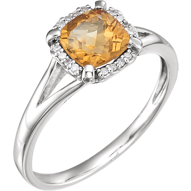 14K White Citrine & .05 CTW Diamond Ring