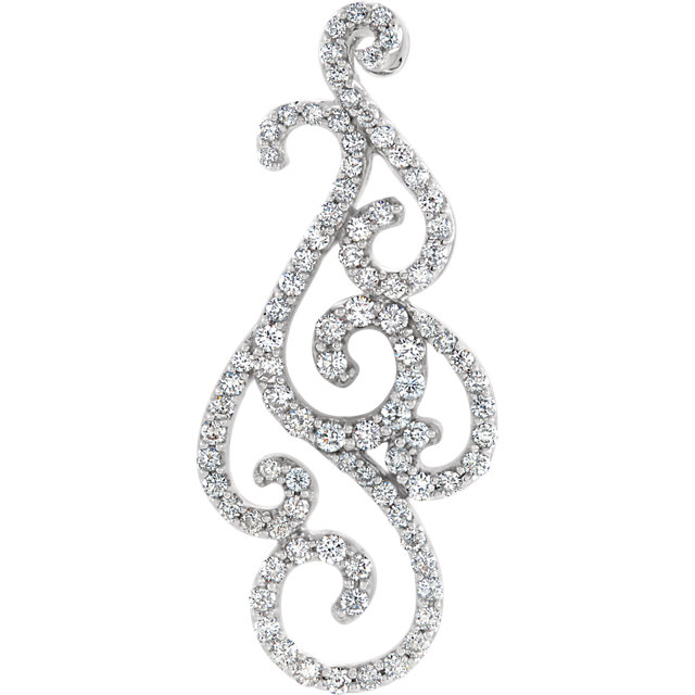 14K White 3/4 CTW Diamond Pendant