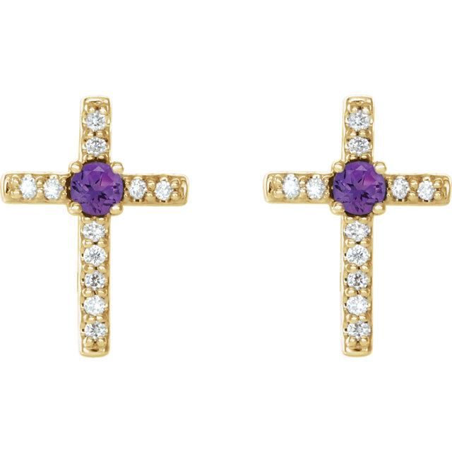14K Yellow Amethyst & .06 CTW Diamond Cross Earrings