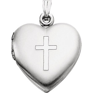 Sterling Silver 15.5x13mm Heart Locket with Cross
