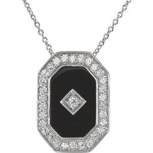 Onyx & Cubic Zirconia Necklace