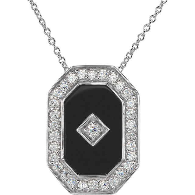 Sterling Silver Onyx & Cubic Zirconia 18