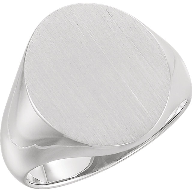 Sterling Silver 18x16 mm Men-s Signet Ring with Brush Finish