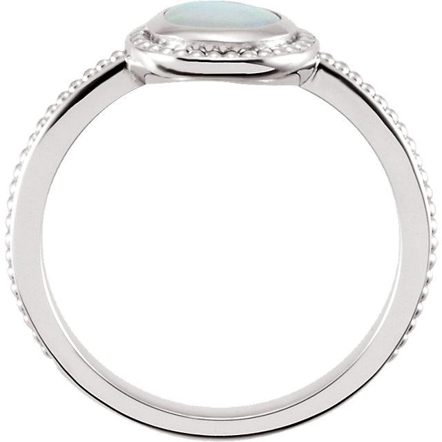 14K White 6 mm Opal Bezel-Set Ring