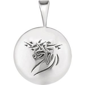 Sterling Silver Heartprint Jesus Pendant