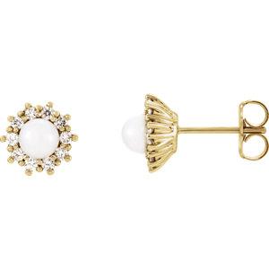 Earrings , 14K Yellow Freshwater Cultured Pearl & 1/3 CTW Diamond Earrings