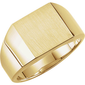 Fashion Rings , 14K Yellow 12mm Men's Solid Signet Ring with Brush Finish