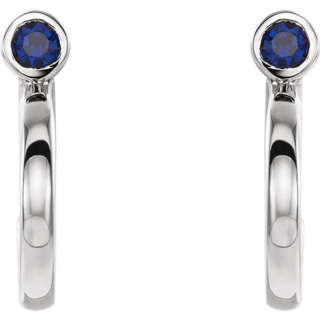 14K White 2 mm Round Blue Sapphire Bezel-Set J-Hoop Earrings