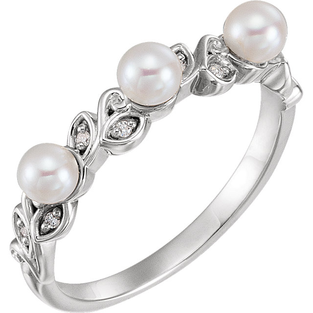 Sterling Silver Pearl & .03 CTW Diamond Stackable Leaf Pattern Ring