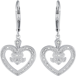 Sterling Silver .06 CTW Diamond Heart Lever Back Earrings
