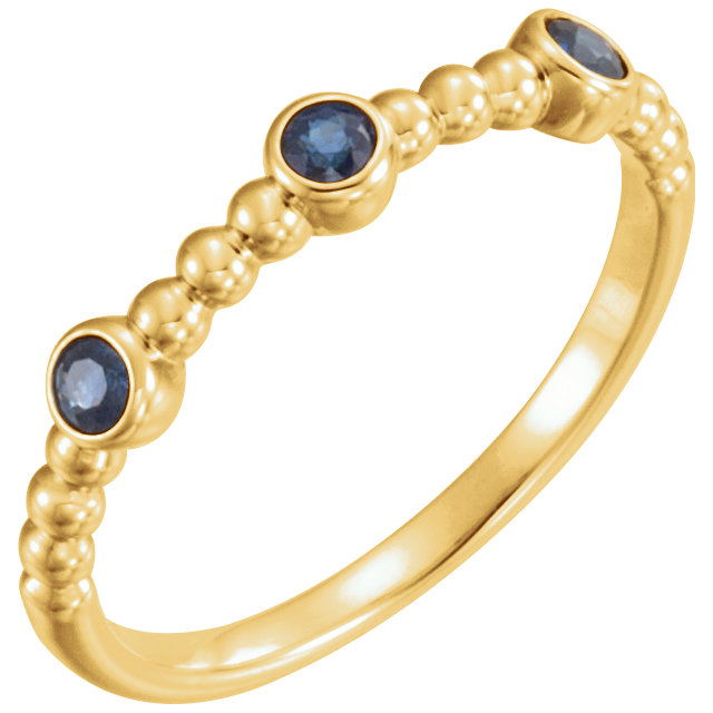 14K Yellow Blue Sapphire Beaded Ring