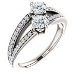 14K White  4.4 mm Round Engagement Ring Mounting