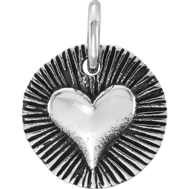 Sterling Silver Radiant Heart Charm
