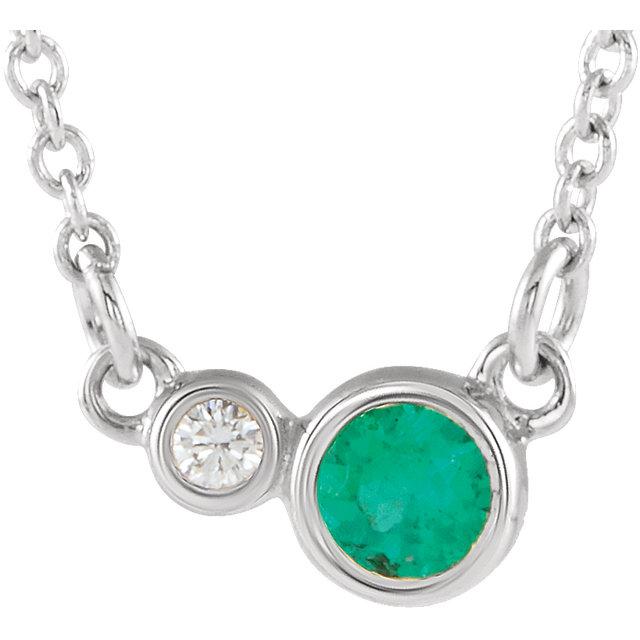 14K White Chatham® Created Emerald & .03 CTW Diamond 18