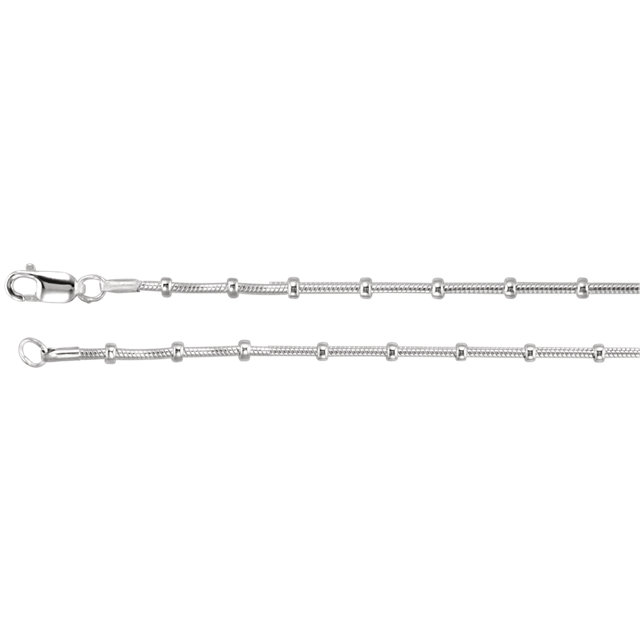 1mm Sterling Silver Snake & Bead Chain