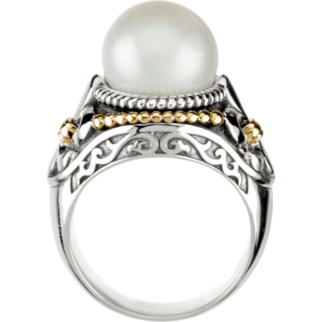 Sterling Silver & 14K Yellow Freshwater Cultured Pearl Ring Size 6