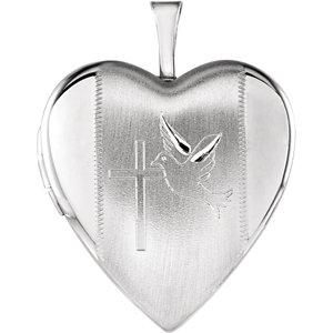 Heart Locket with Cross &  Dove