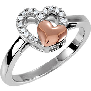 Sterling Silver & 10K Rose 1/10 CTW Diamond Heart Ring Size 8