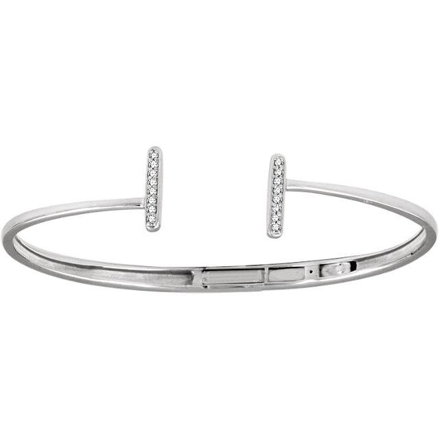 14K White 1/6 CTW Diamond Bar Hinged Cuff Bracelet