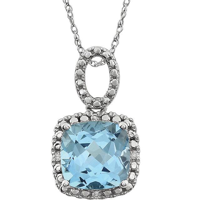 14K White Sky Blue Topaz & .03 CTW Diamond 18