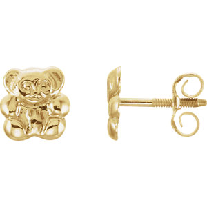 14K Yellow Youth Teddy Bear Earrings