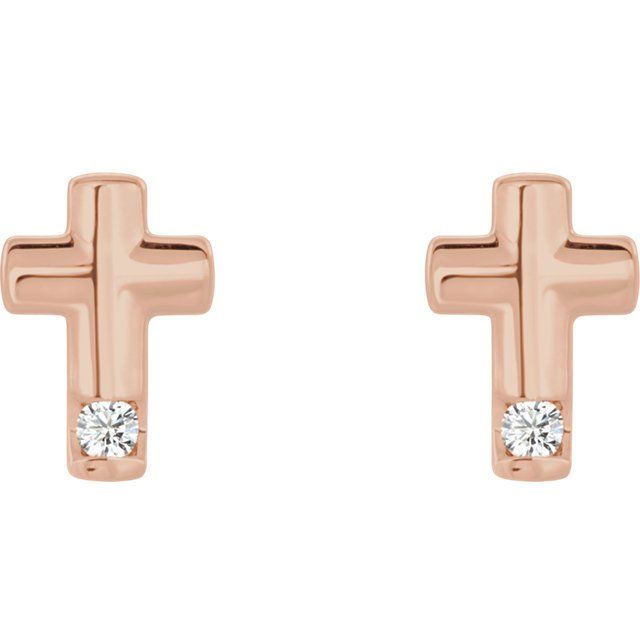 14K Rose .03 CTW Diamond Cross Earrings