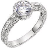 Bezel Set Solitaire Engagement Ring or Band