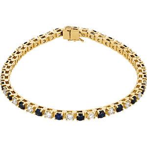 14K Yellow Blue Sapphire & 2 1/3 CTW Diamond Bracelet