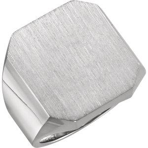 Fashion Rings , 14K X1 White 20x18mm Octagon Men's Signet Ring
