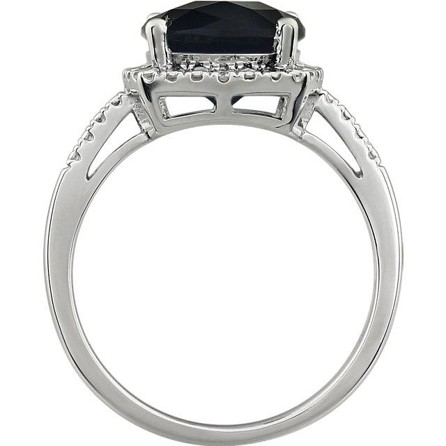 14K White Onyx & .03 CTW Diamond Ring