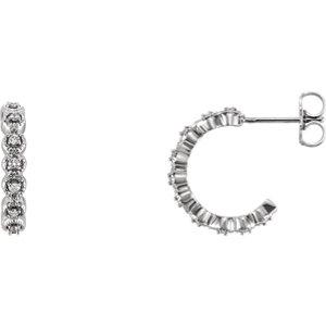 14K White 1/6 CTW Diamond J-Hoop Earring