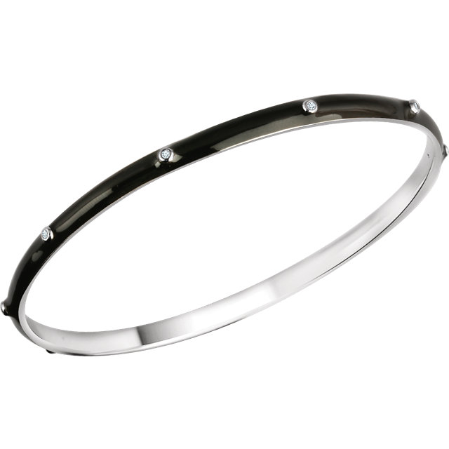 Sterling Silver 1/10 CTW Diamond Black Enamel Bangle Bracelet