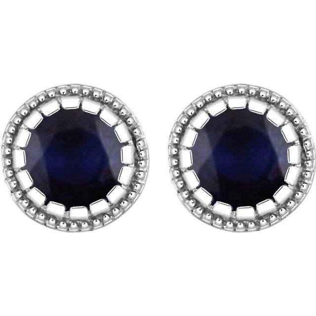 14K White Blue Sapphire