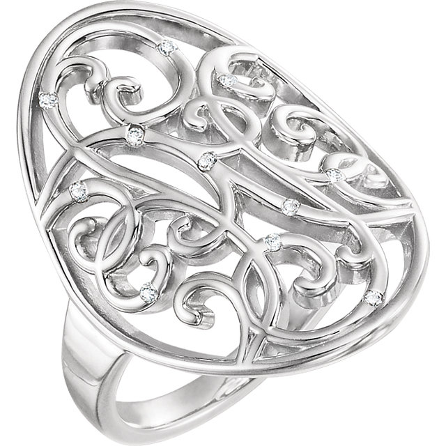 Sterling Silver .06 CTW Diamond Scroll Bead Blast Ring Size 5