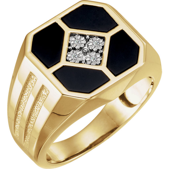 14K Yellow Men-s Onyx & .02 CTW Diamond Ring