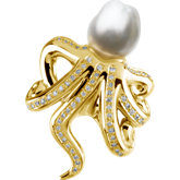 Diamond Semi-mount Octopus Brooch for Pearl