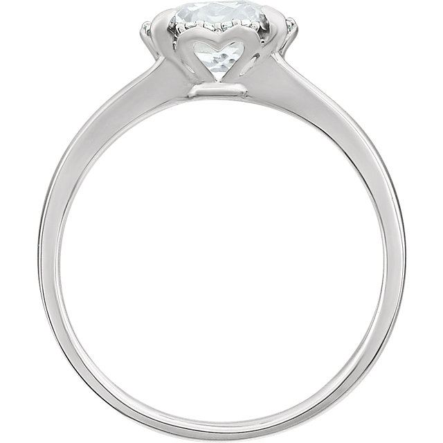 14K White Created White Sapphire & .05 CTW Diamond Ring