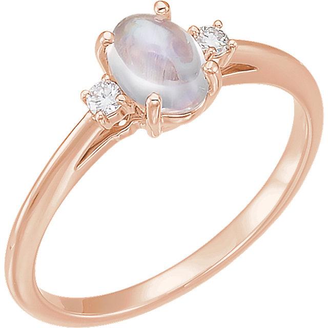 14K Rose Rainbow Moonstone & .06 CTW Diamond Ring
